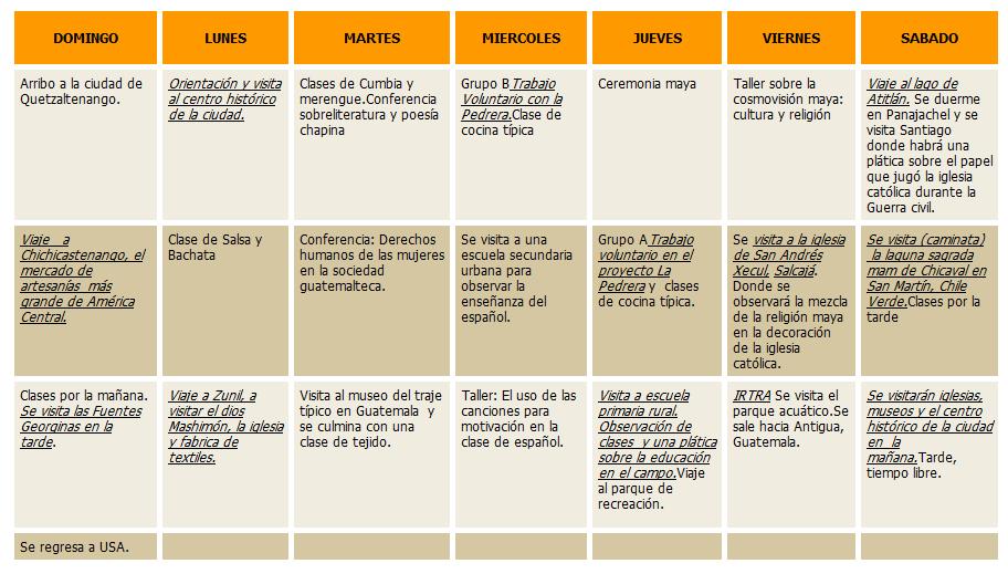 Calendario Español