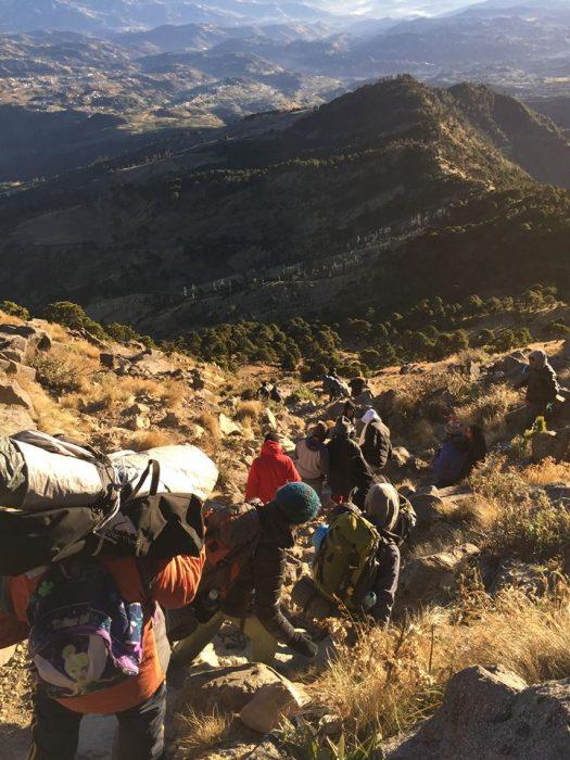 Hikers walking towards Volcan Tajumulco summit
