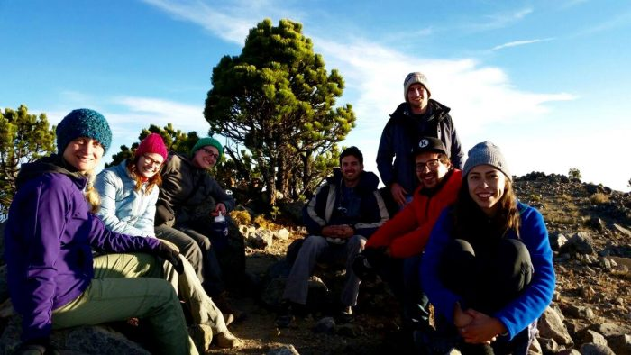 Hikers taking a break on Tajumulco Volcano summit